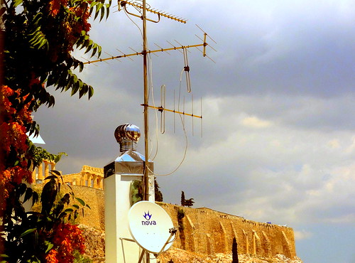 New (TV Antennas) and Ancient (Acropolis) Side by Side