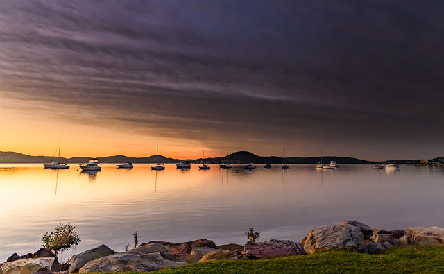 High Clouds, Boats, Reflections and Sunrise on the Bay