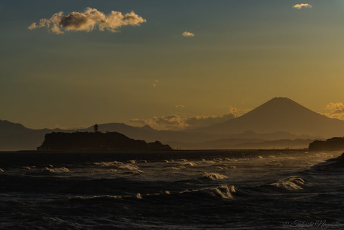 鎌倉市 神奈川県 日本 mtfuji waves sea sunset roughsea enoshimaisland sky clouds