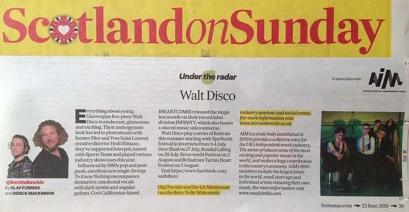 Walt Disco, Scotland On Sunday, 23 June 2019 – New Found Sound