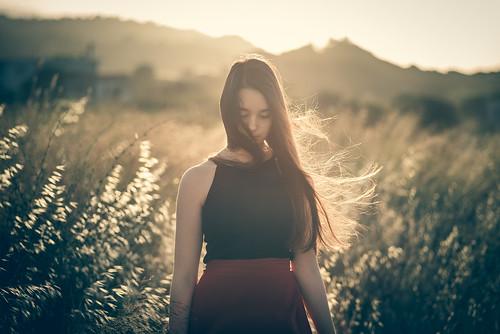 portrait people girl samos blur bokeh remembrance sky sunset sun light summer outside art new red yellow orange plants ears hair