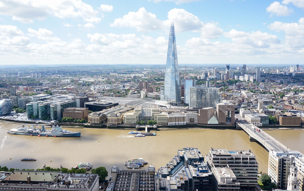 The view south, showing The Shard and the River Thames