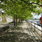 Shady walkway at Preston Docks