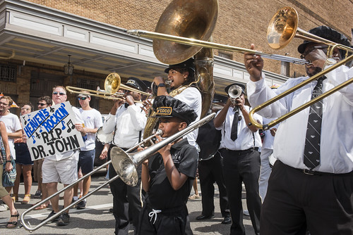 Kinfolk Brass Band at Dr. John's funeral second line on June 22, 2019. Photo by Ryan Hodgson-Rigsbee RHRphoto.com