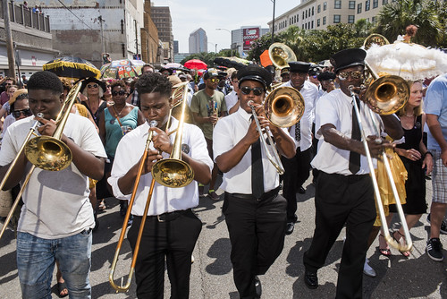 Dr. John's funeral second line on June 22, 2019. Photo by Ryan Hodgson-Rigsbee RHRphoto.com. Glen David Andrews back right