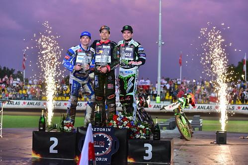 2. Leon Madsen - 1. Janusz Kolodziej - 3. Patryk Dudek, FIM Speedway Grand Prix World Championship, Prague 2019