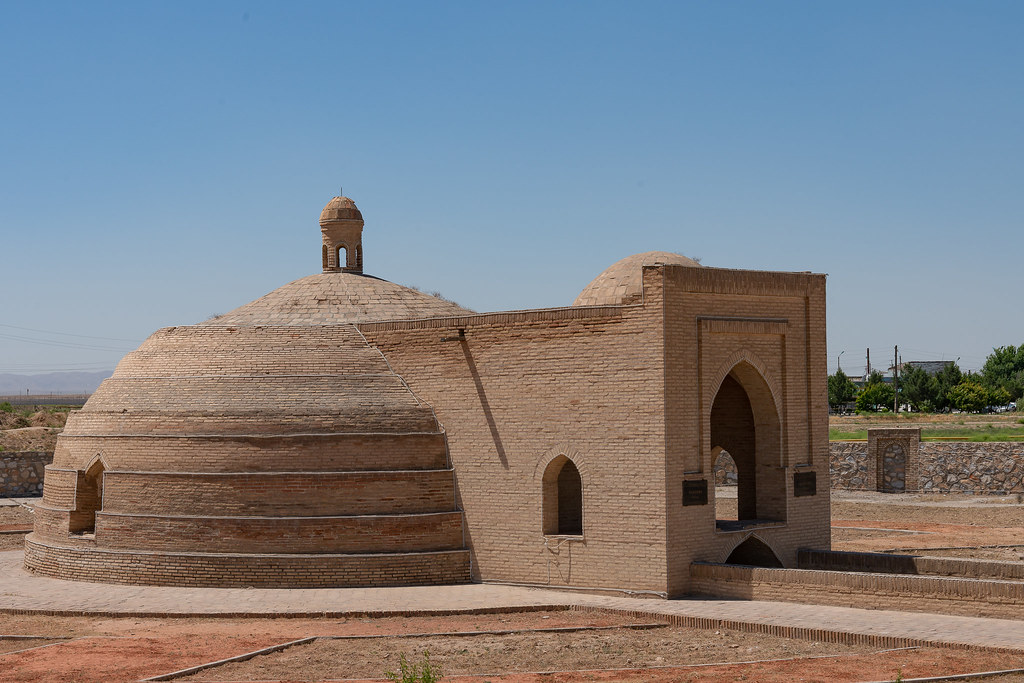 Brick dome cover of a sardoba (well) across the road from the ...