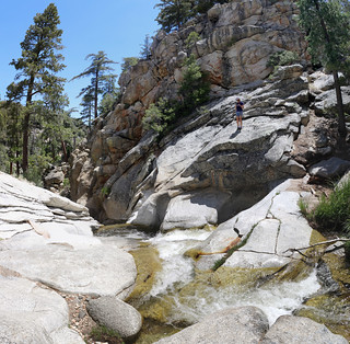 516 Vicki climbing up on the granite slabs along Tahquitz Creek at Caramba Camp | by _JFR_