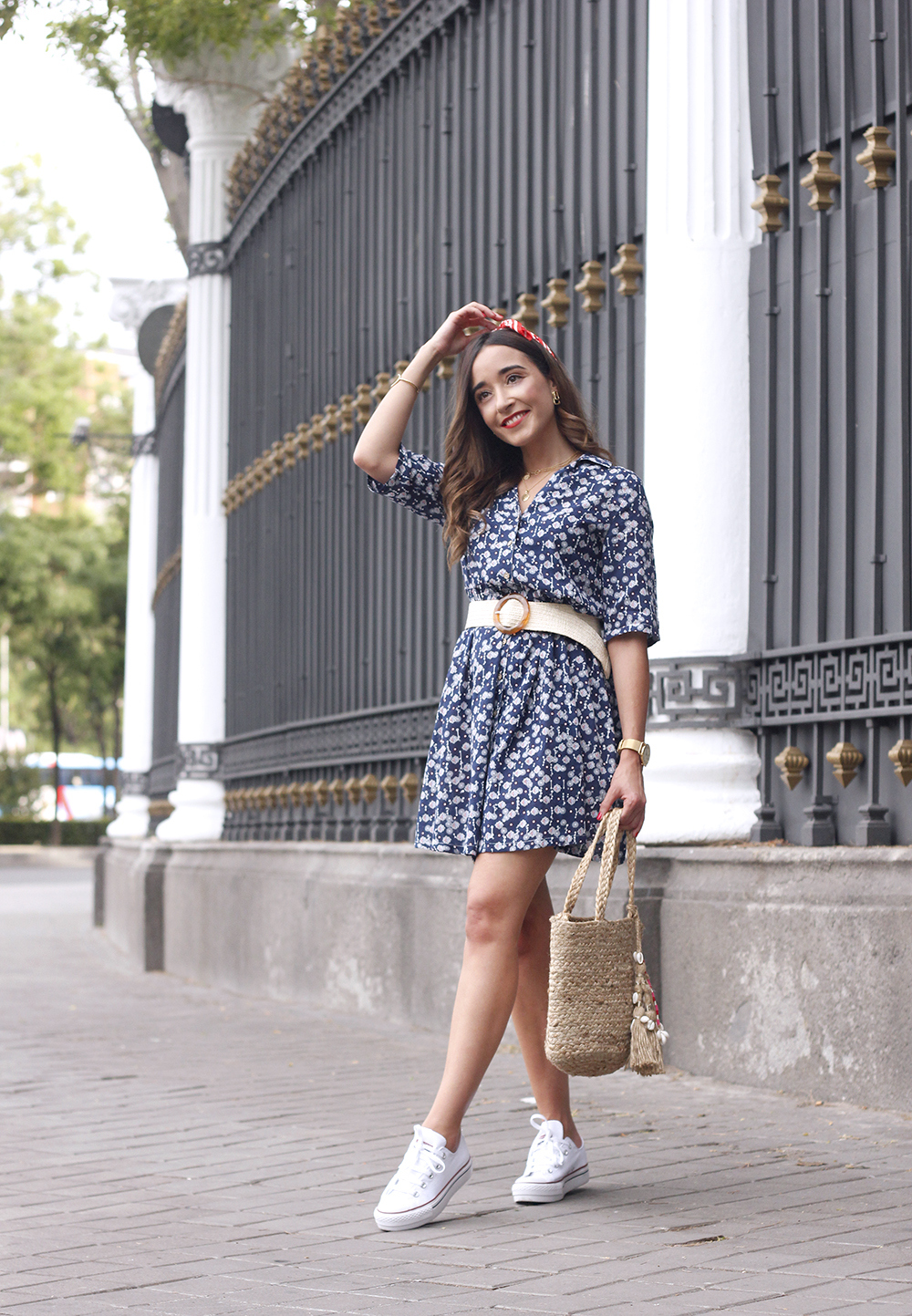 casual printed dress platfrom converse hair scarf street style outfit 201910