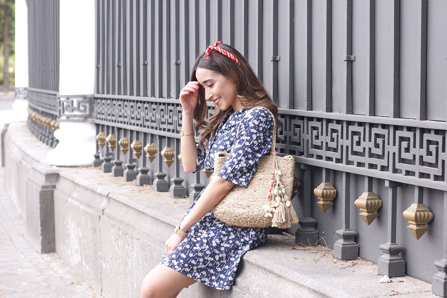 casual printed dress platfrom converse hair scarf street style outfit 20193
