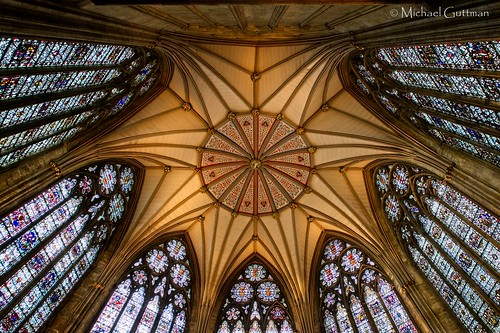 york minster england uk chapterhouse ceiling stainedglass architecture cathedral gothic vaultedceiling