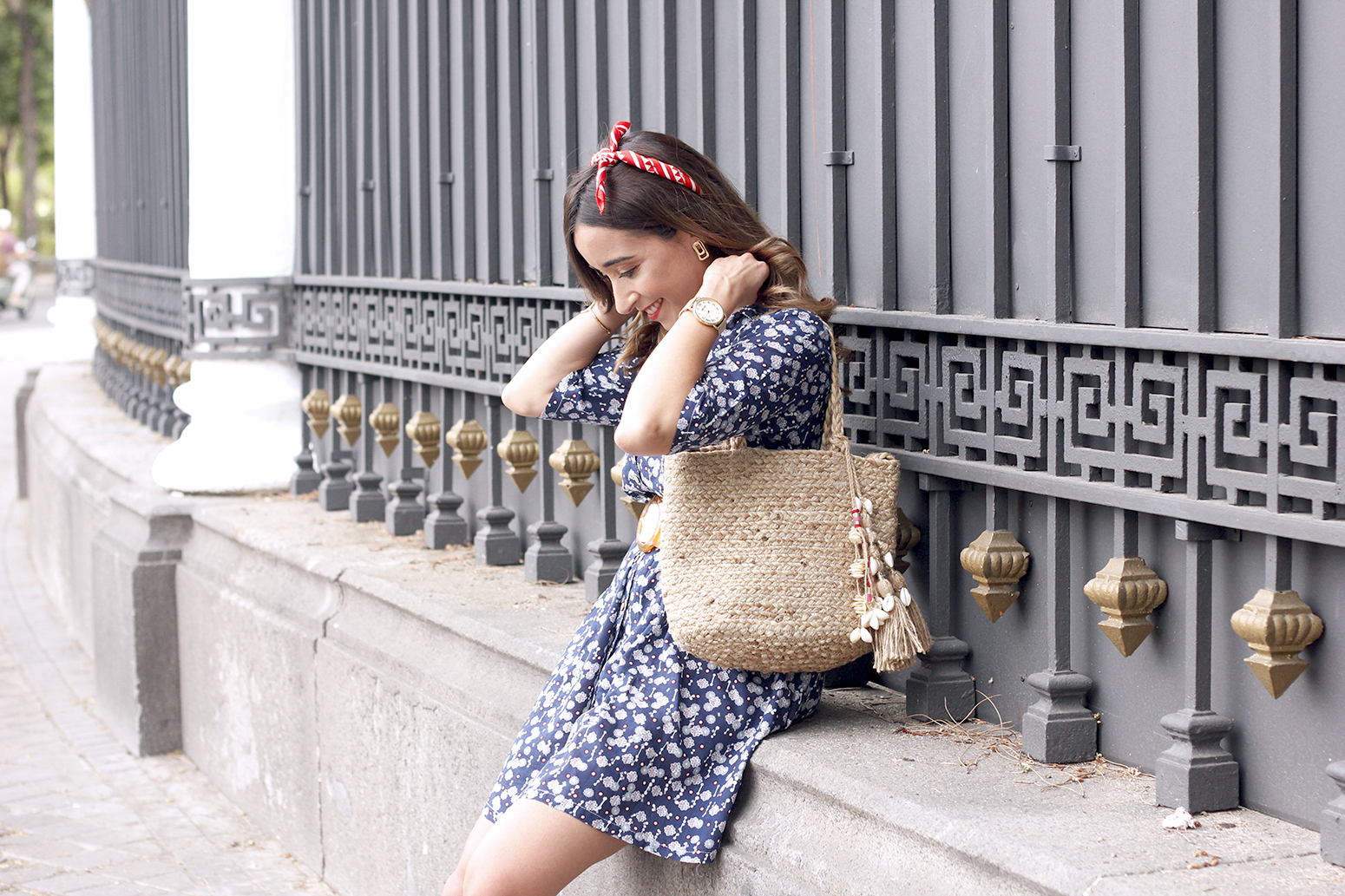 casual printed dress platfrom converse hair scarf street style outfit 20194