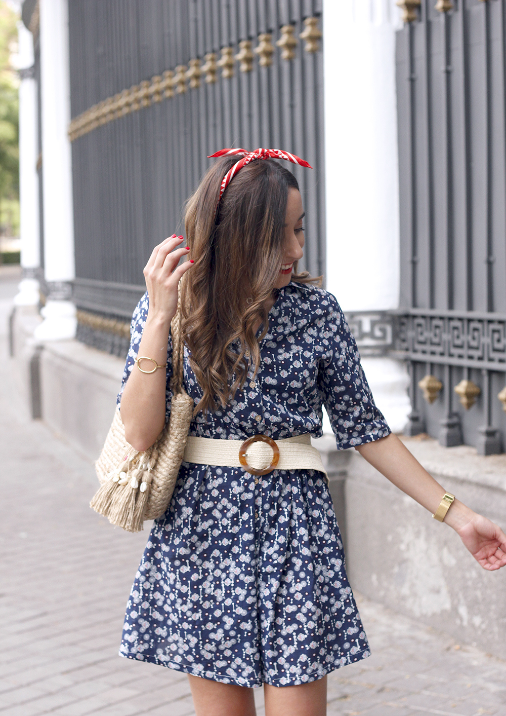 casual printed dress platfrom converse hair scarf street style outfit 20191