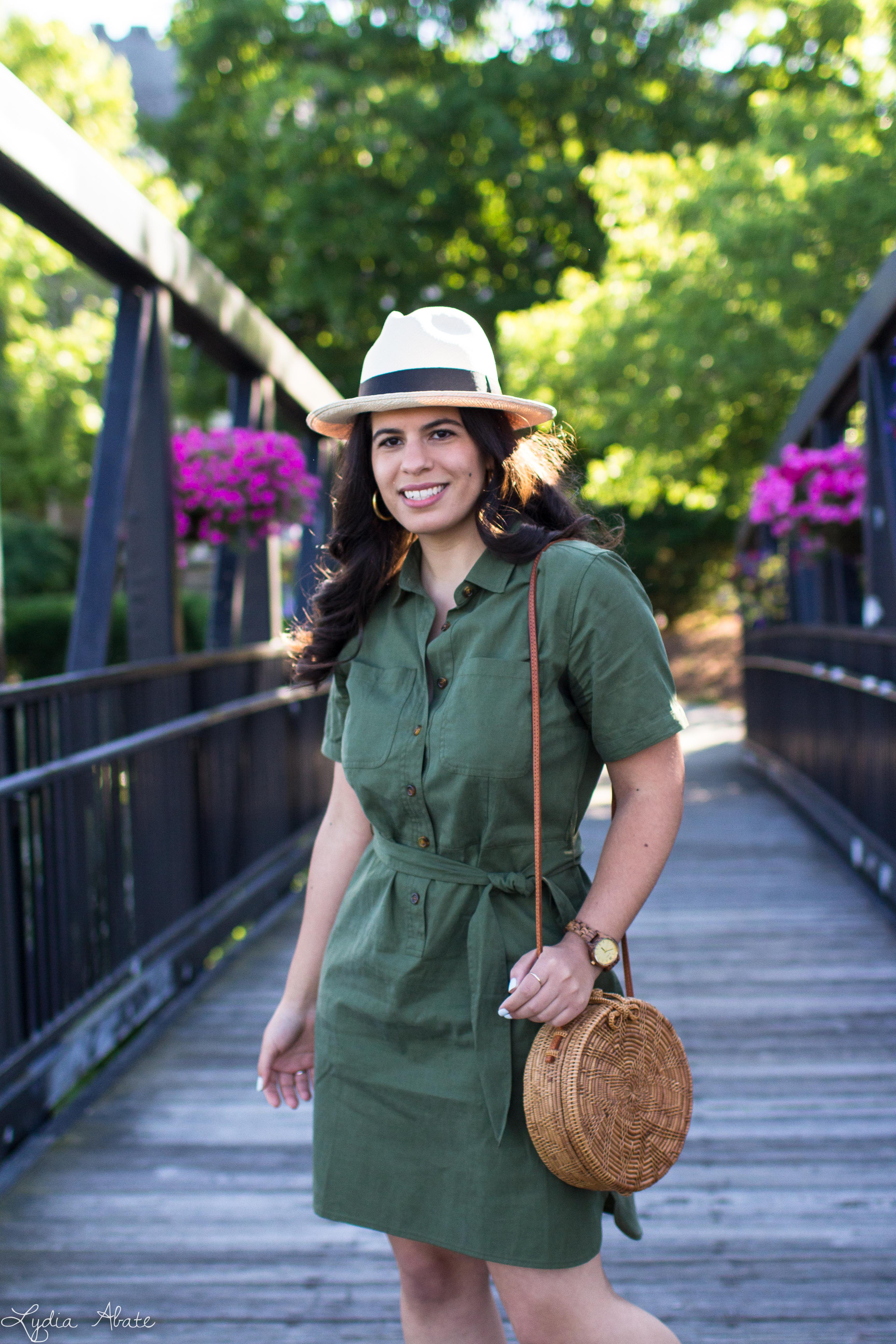 green shirtdress, rust mules, panama hat, round rattan bag-7.jpg