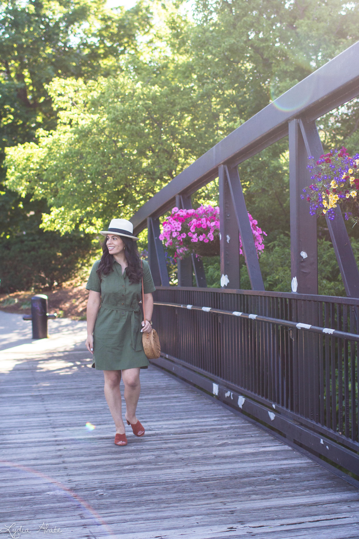 green shirtdress, rust mules, panama hat, round rattan bag-12.jpg