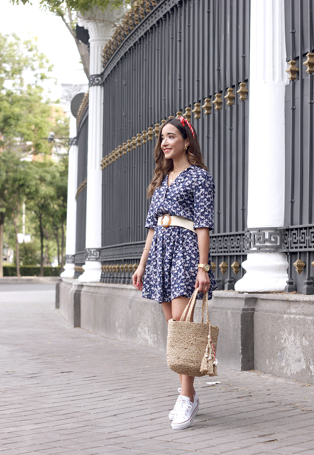 casual printed dress platfrom converse hair scarf street style outfit 201911
