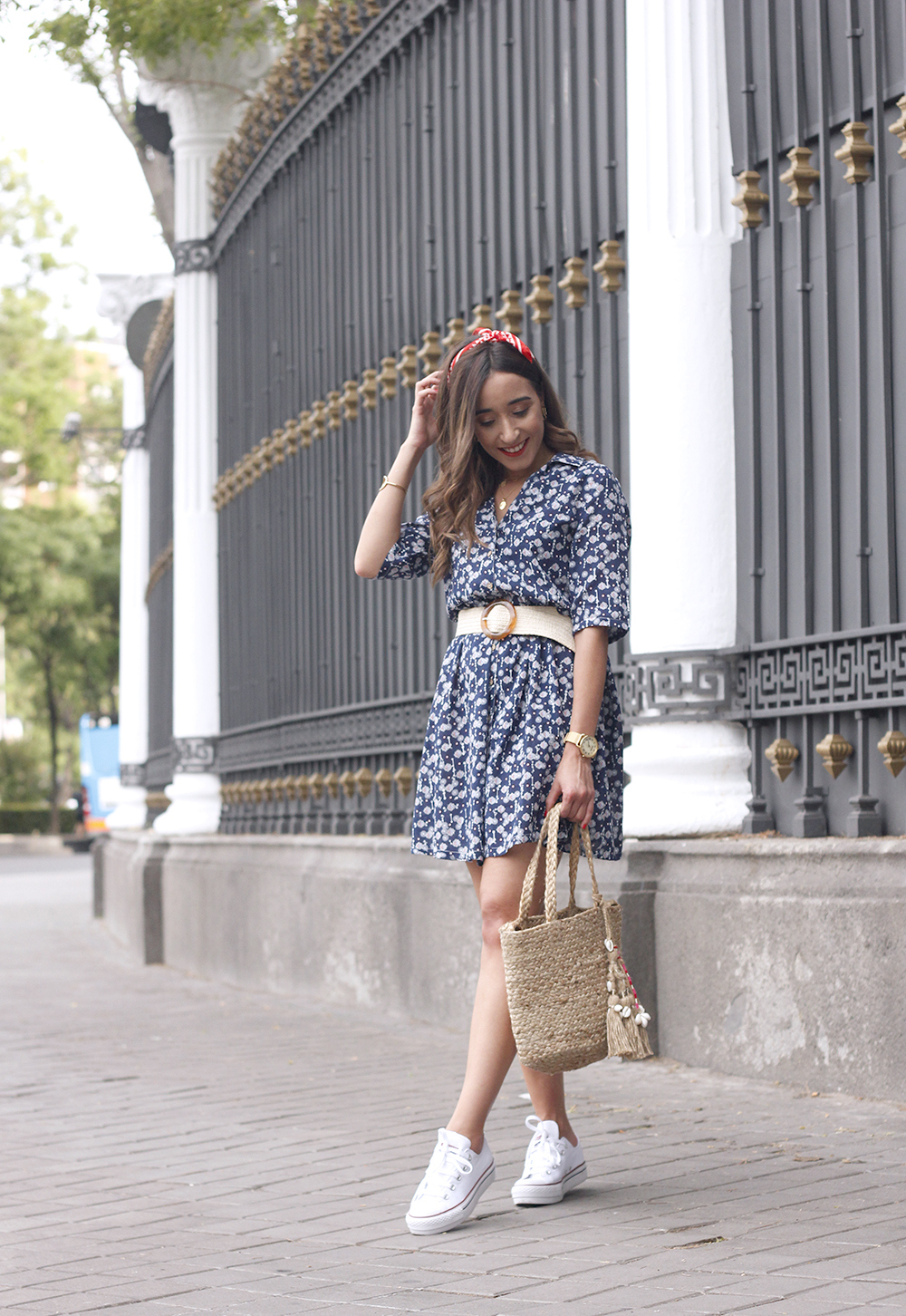 casual printed dress platfrom converse hair scarf street style outfit 20198