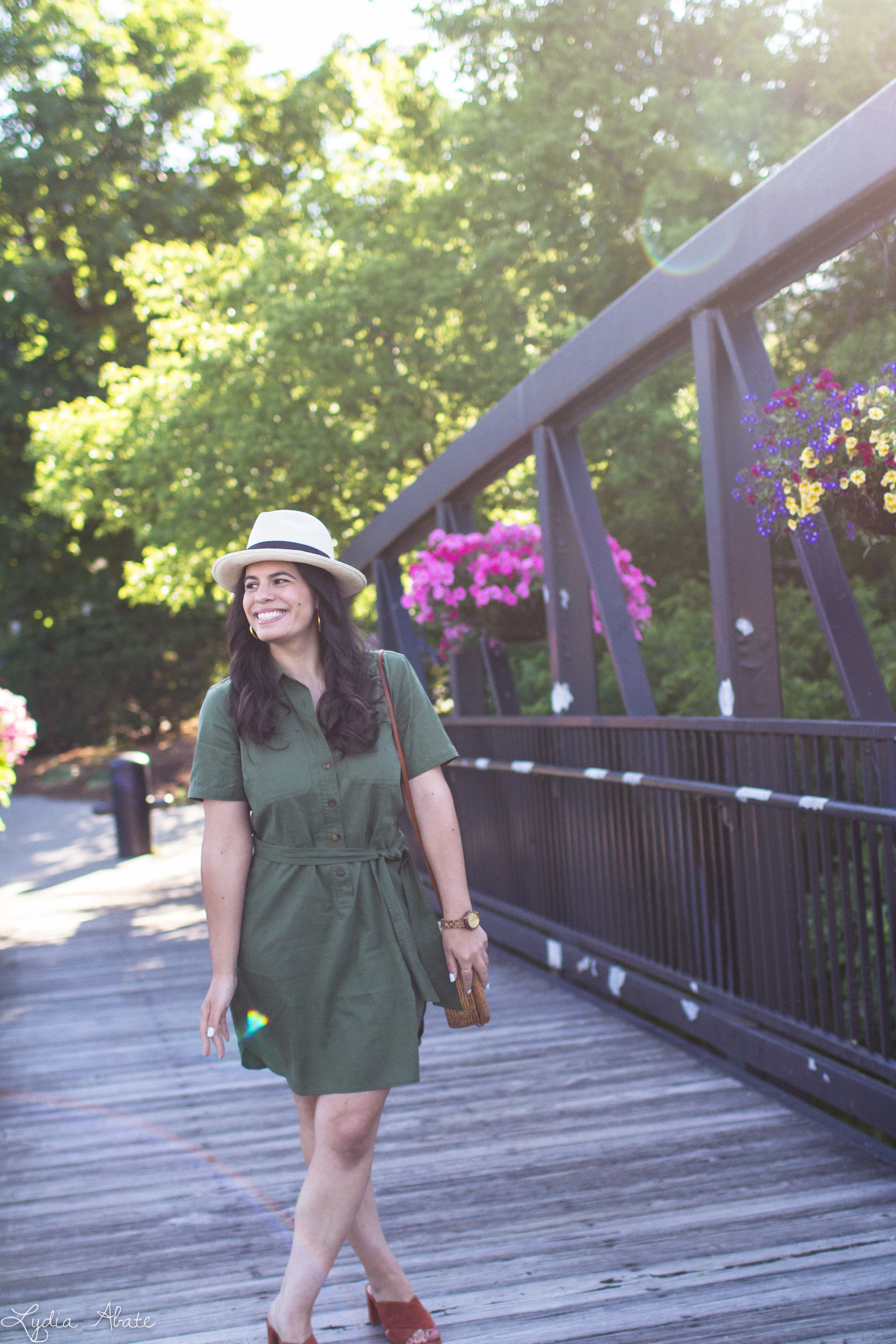 green shirtdress, rust mules, panama hat, round rattan bag-13.jpg
