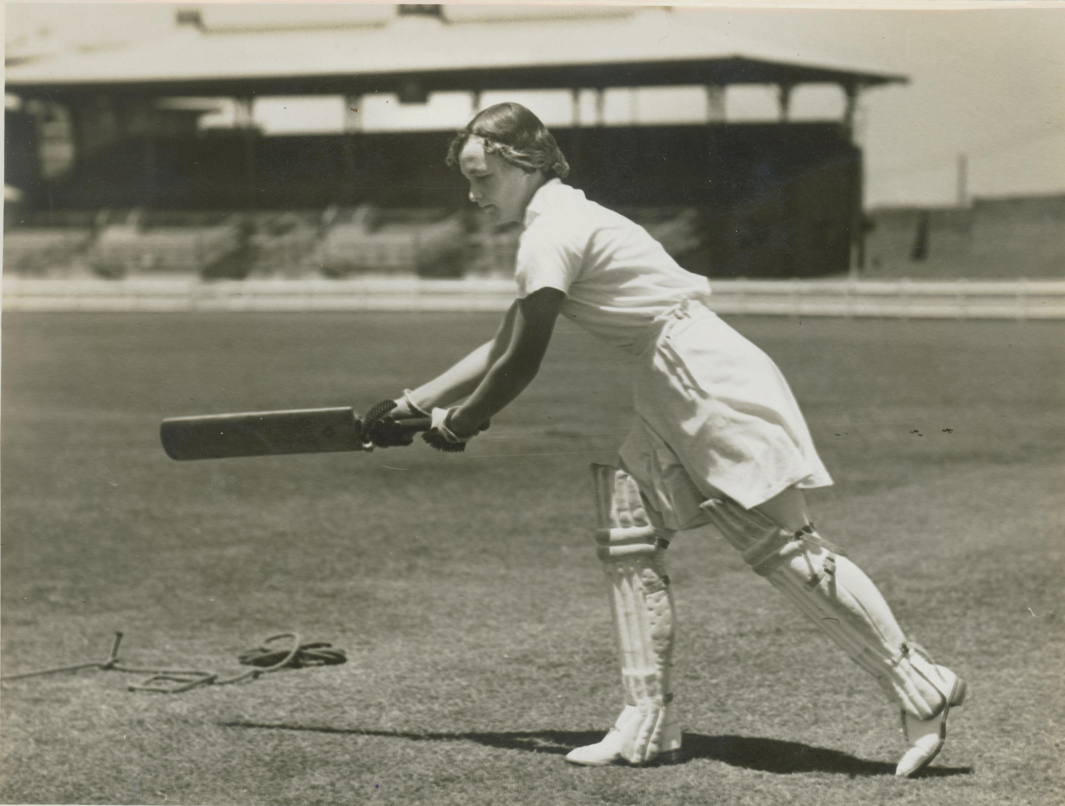 Mrs Spear, playing cricket, ca. 1935, Sam Hood
