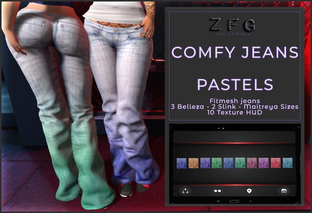 {zfg} comfy jeans pastels