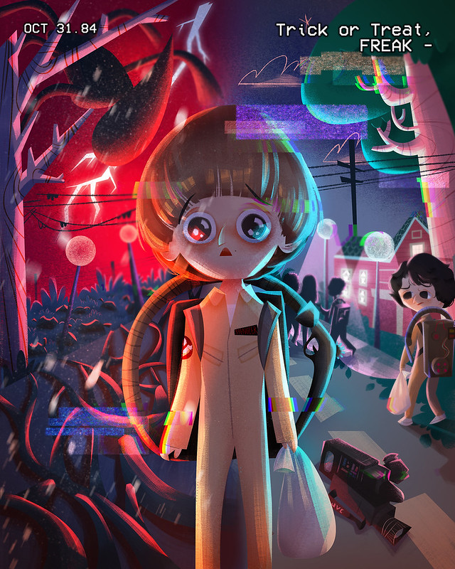 Trick or Treat, Freak - Stranger Things fan art as interpreted by Penang-based Malaysian artist, Lyn-Hui Ong