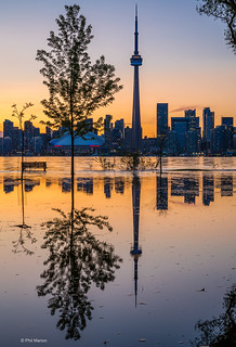 Toronto Island flooding and Toronto sunset skyline