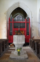 font, organ, tower arch