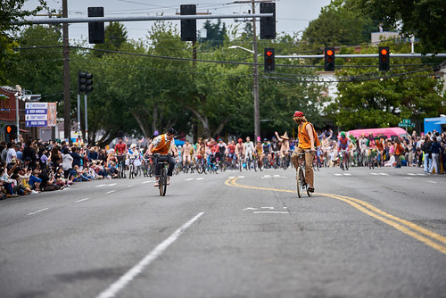 Fremont Summer Solstice Parade 2019 cyclist (6) they are coming