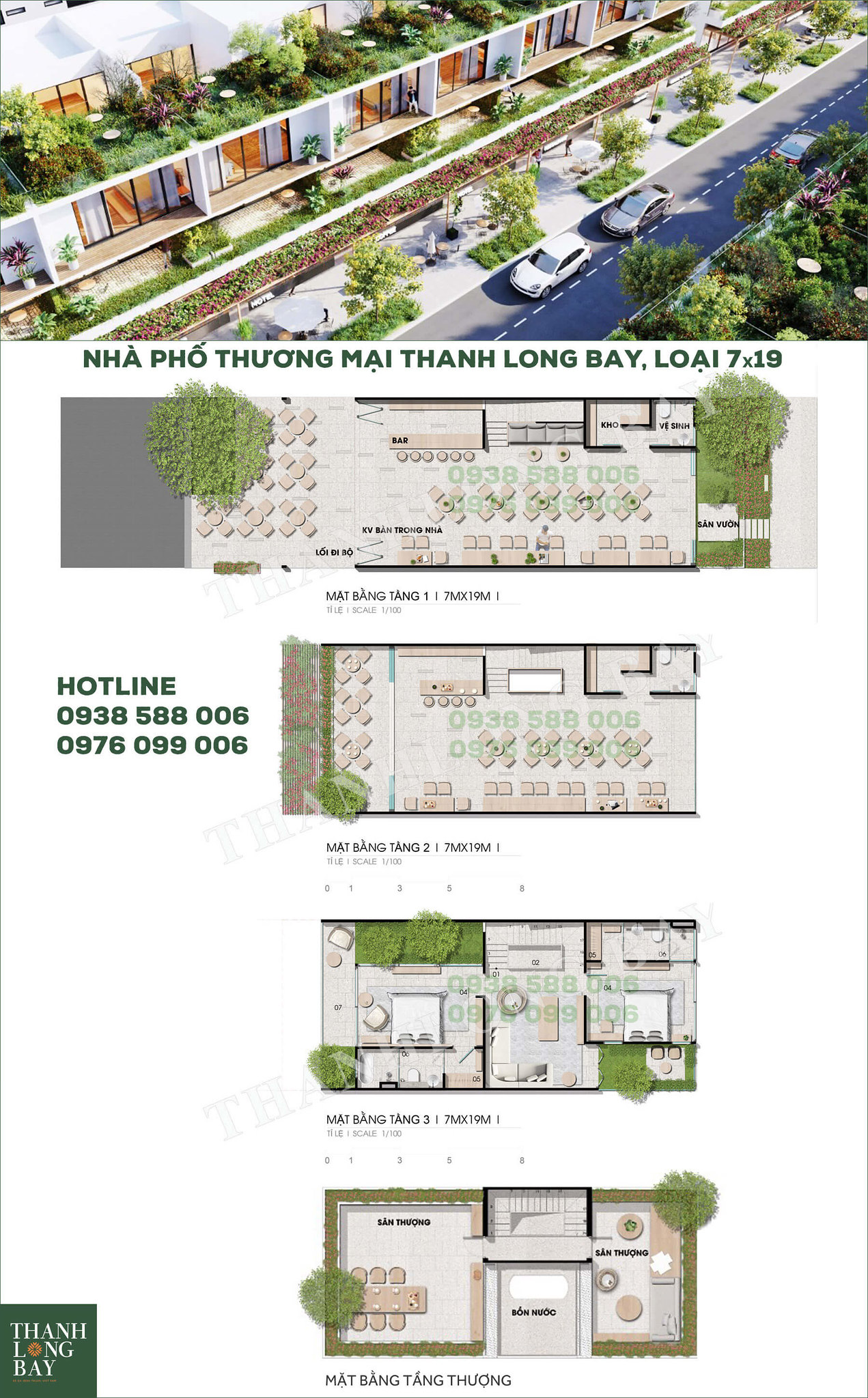Mặt bằng nhà phố thương mại shophouse Thanh Long Bay Phan Thiết diện tích 7x19.