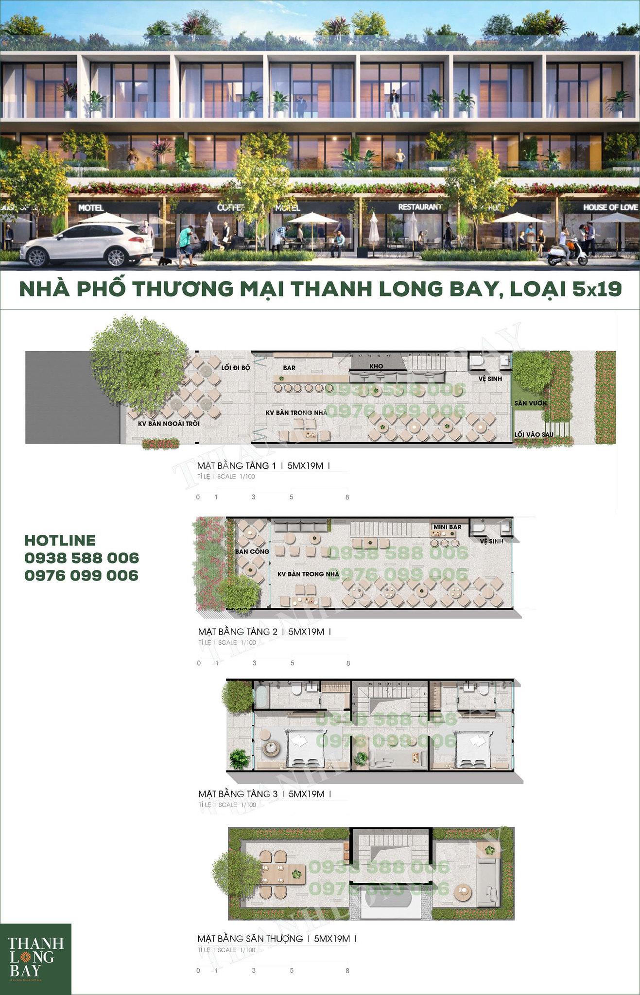 Mặt bằng shophouse, nhà phố thương mại Thanh Long Bay Kê Gà Phan Thiết (loại 5x19).