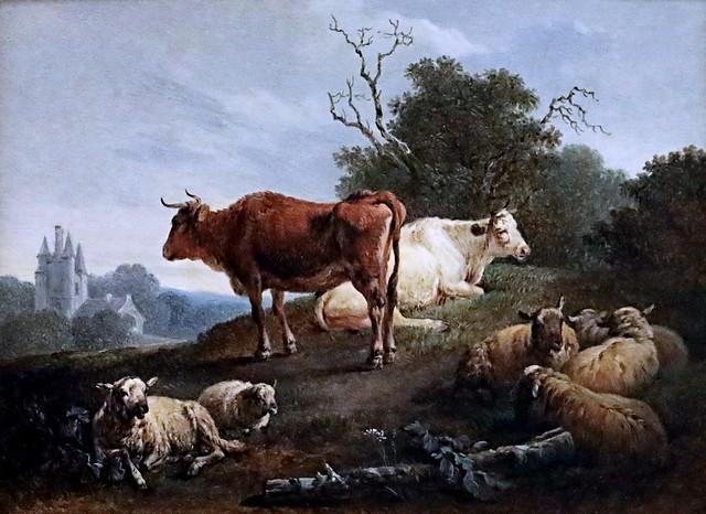 IMG_3871S  Jean Baptiste Huet. 1744-1811 Paris  Bestiaux au pâturage (Au château)  Grazing cattle (At the castle)1783 Nantes Musée d'Arts.  Fils de Nicolas Huet, peintre animalier influencé par Boucher.  Ecole Baroque-Rococo. Baroque-Rococo School.
