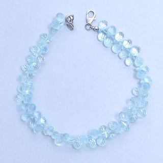 TEMPTING-Natural AAA+ Aquamarine Briolette Bracelet