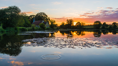 sunsets reflections ponds trees lillypads church stleonardschurch hartleymauditt