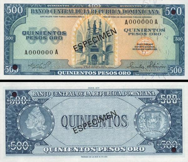 500 Pesos Oro Dominikánska republika 1975 P114a-s