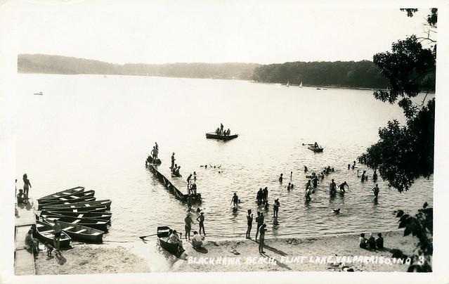 Blackhawk Beach at Flint Lake, circa 1935 - Valparaiso, Indiana