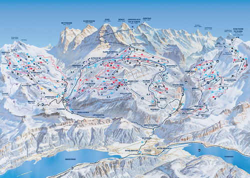 Jungfrau - mapa sjezdovek