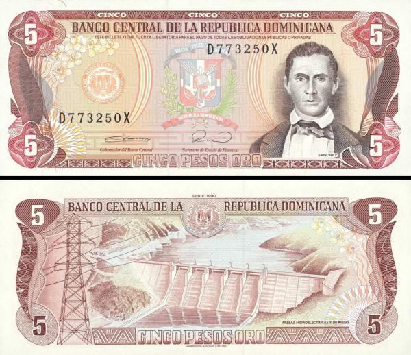 5 Pesos Oro Dominikánska republika 1990 P131