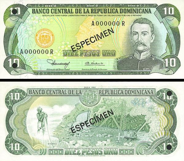 10 Pesos Oro Dominikánska republika 1990 P119s1