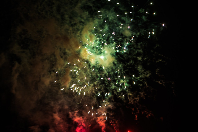 Green and Red Firework Smoke