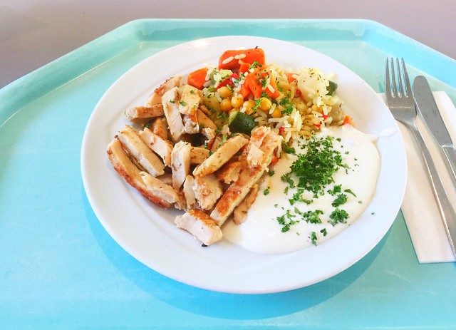 Turkey stripes with vegetable rice / Putenstreisen mit Gemüsereis