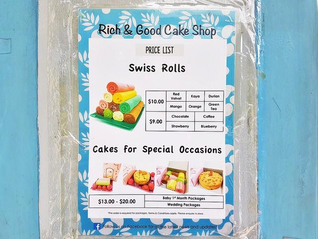 Rich & Good Cake Shop Menu