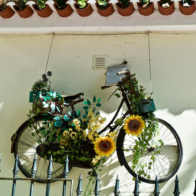 An old bicycle decked with flowers