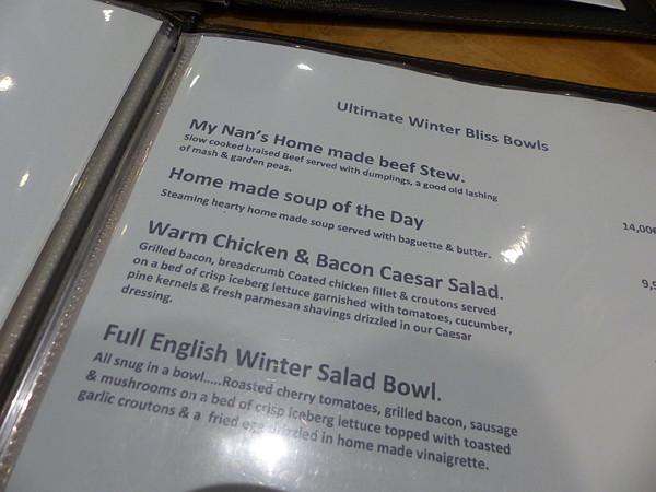 menu blue lady pub