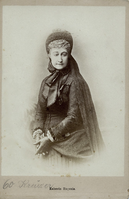 Empress Eugenie of France in Mourning, Albumen Cabinet Card, in Mourning for her Son, 1880
