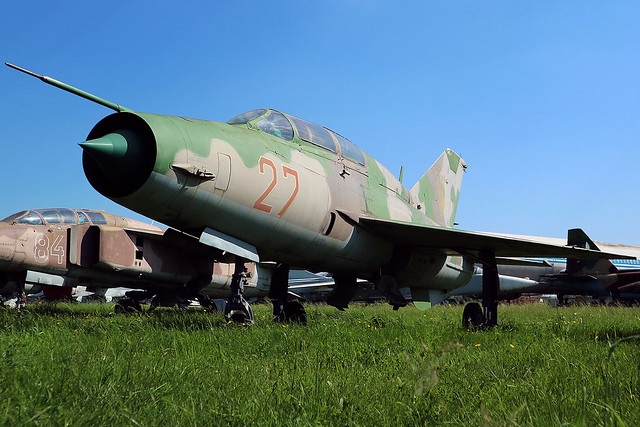 27 RED Former Ukrainian Air Force Mikoyan-Gurevich MiG-21UM at the State Aviation Museum of Ukraine Kiev on 26 May 2019