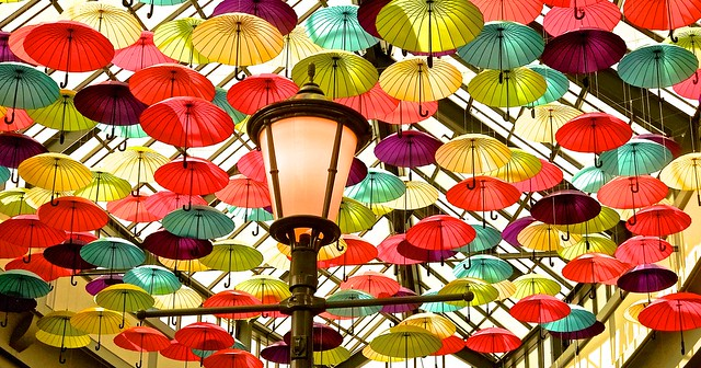 COLORFUL UMBRELLAS & LAMP in LAVAL CITY ( Quebec ) CANADA