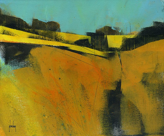Yellow folded landscape/acrylic/12 x 10 inches/2019