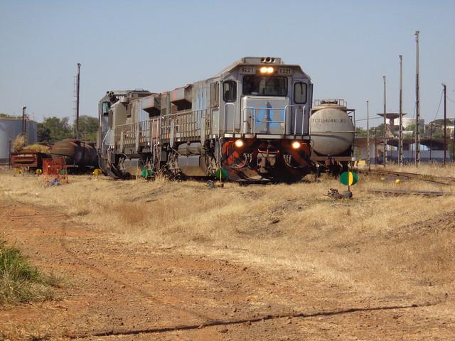 36638 GT46AC #8221 + 8181 + BB40-2 #8121 com trem M479 iniciam a manobra às 12h09. Uberlândia MG     (2)