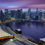 Aerial View of Singapore CBD Skyline, Marina Bay Esplanade and R