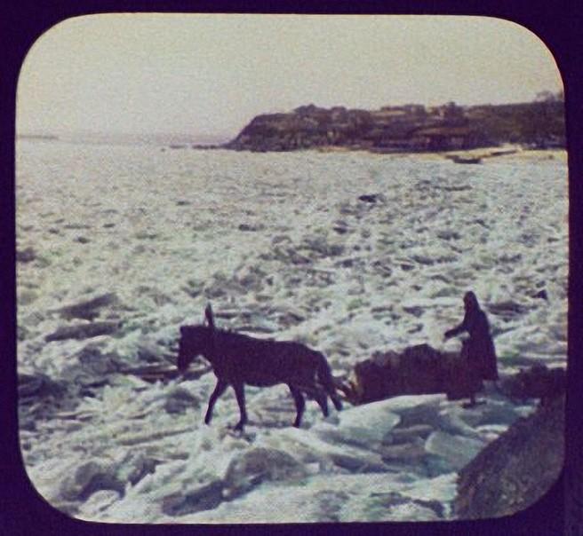 Хабаровск. Лошадь везет сани по неровному льду реки Амур